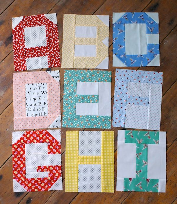Spell It With Fabric blog hop by @ModaFabrics #spellitwithmoda / Alphabet blocks by Messyjesse....oh what fun...can hardly wait for the rest of the alphabet...