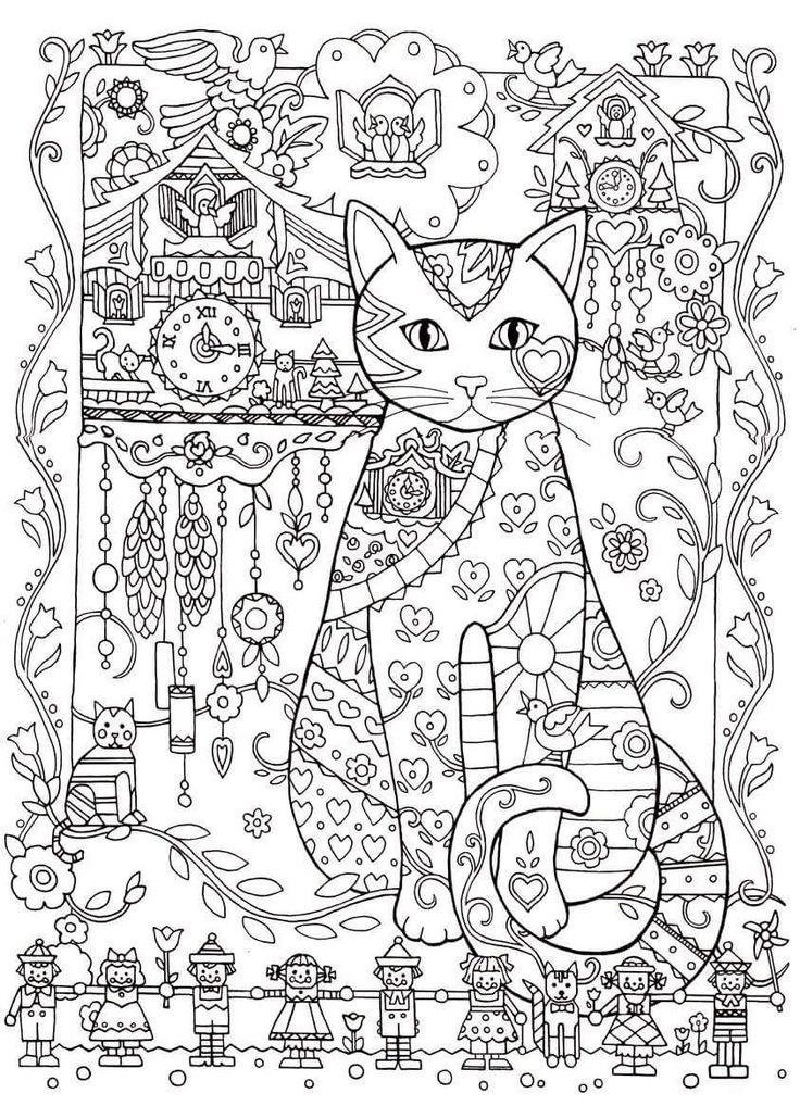 Advanced Cat Coloring Pages : Best art thérapie images on pinterest coloring