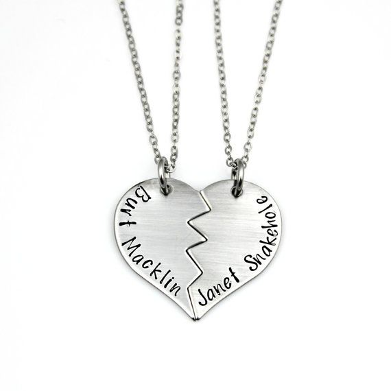 CELEBRATE THE FUN OF APRIL AND ANDY WITH YOUR BEST FRIEND AND PARKS AND REC. FAN WITH THIS TRULY UNIQUE BURT MACKLIN and JANET SNAKEHOLE Hand Stamped Stainless Steel Split Heart Necklace, Keychain, or Charms Set by www.TinyEpicMoments.com