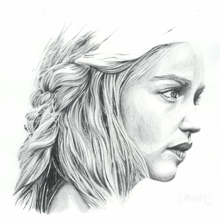 Mother of dragons sketch by Damian Smith A3 print reproduction