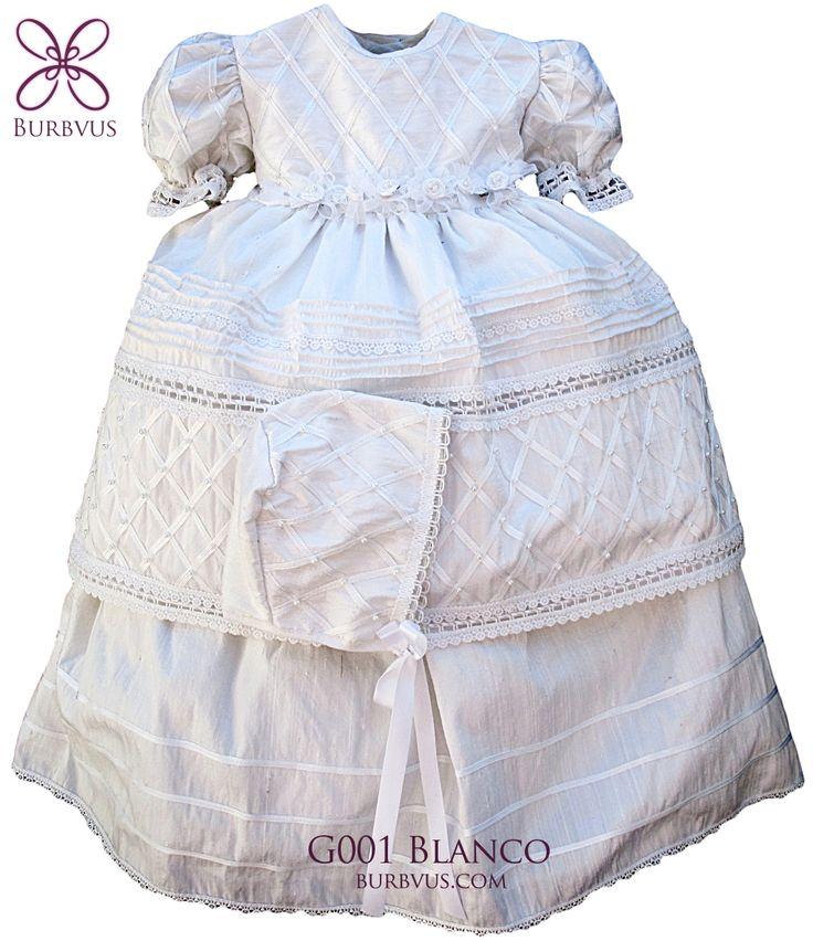 Vestido de niña, modelo G001. Disponible en seda o algodon, color blanco o color hueso. #ropon #bautizo #nina #burbvus #vestidoparaninas