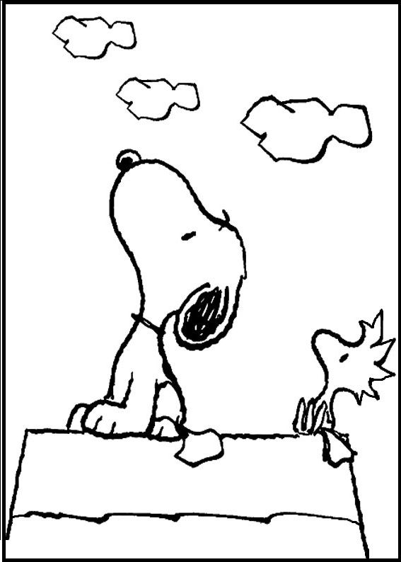 Snoopy And Woodstock Looking Cloud Coloring Picture For Kids