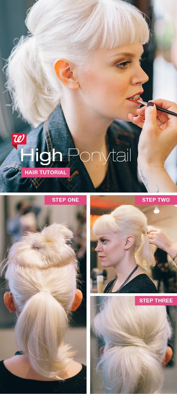 The ponytail remains a classic look that's always in style—every season, every decade. Take this favorite 'do to new heights with pro tips: 1. Section hair on your crown and hold with a clip. Then pull the remainder of your hair into a tight ponytail on the back of your head 2. Backcomb hair on crown and set with hairspray 3. Smooth top of crown and secure tresses around ponytail elastic with bobby pins. (PRO TIP: This look hangs well with bangs.)