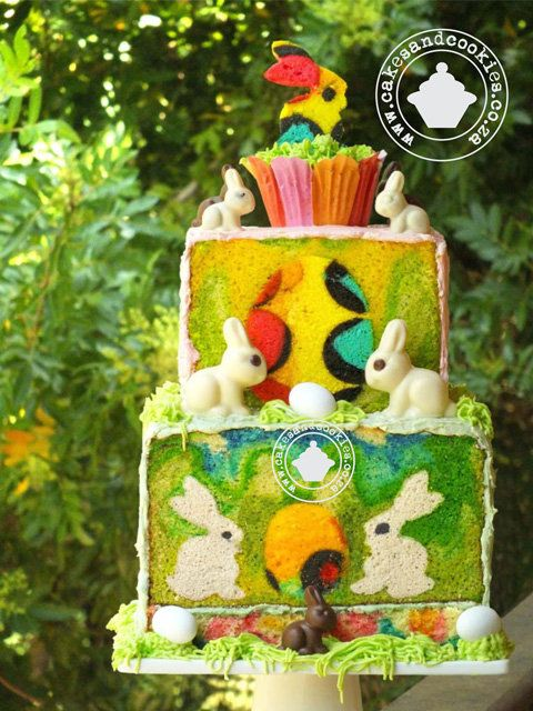 Hoppy Easter Inside My Cake - by Terry @ CakesDecor.com - cake decorating website