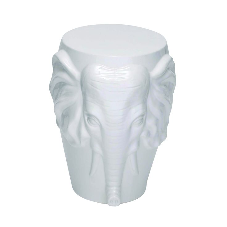 Beautifully Sculpted Elephant Face Stool With Glossy Finish