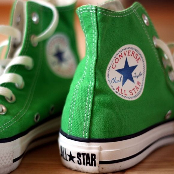 HIGH TOP GREEN CONVERSe Barely worn high top Green chuck Taylor converse with white laces... Pictures shows actual shoes nothing is wrong with them.. Clean and ready to wear. They are a size 3 but fits a size 5 -5.5 woman's... Converse Shoes Sneakers
