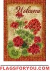 Welcome Geranium Garden Flag