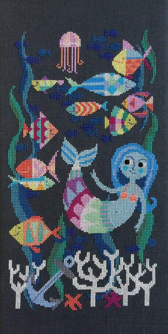 Mermaid Lagoon modern cross stitch pattern PDF by SatsumaStreet
