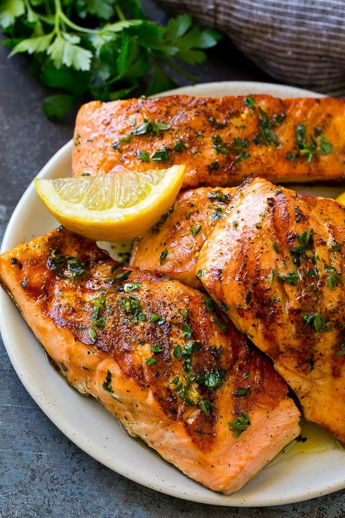 Photo of Marinated salmon with garlic and herbs