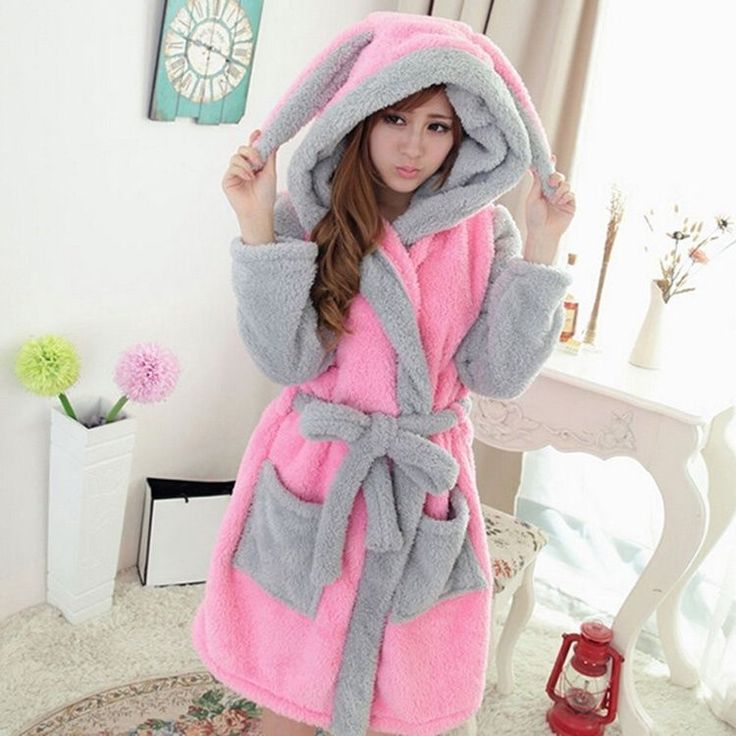 Coral Ladies Hooded Nightgown Warmer Sleepwear Pajamas Cartoon Night Bath Robe