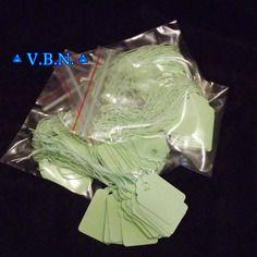 Etiquettes prix, lot de 25 pieces avec ficelles coton vert monté