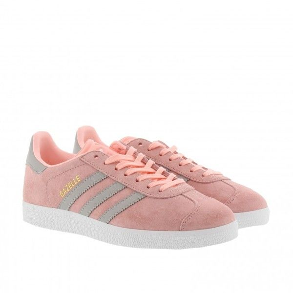 adidas Originals Sneakers - Gazelle W Sneaker Rose/ Granit/ White - in... (140 CAD) ❤ liked on Polyvore featuring shoes, rose, adidas originals, leather flat shoes, flat shoes, white flat shoes and rosette shoes