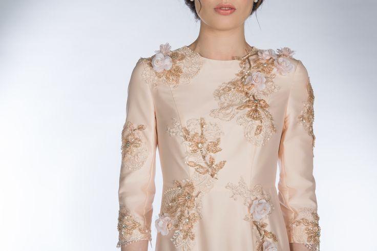 CLAIRE MISCHEVANI Rose Gold Floral Applique Dress
