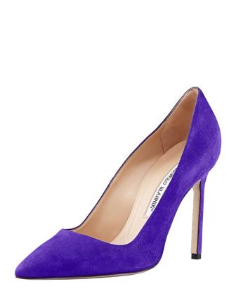 Wednesday, August 14th: Manolo Blahnik BB Suede Pointed-Toe Pump, Purple, 212 872 8940