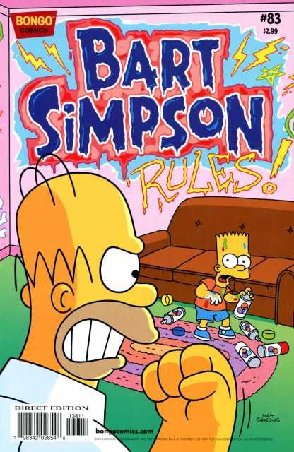 """Front Cover: Bart sprays the graffiti on the wall which reads """"Bart Simpson rules!"""". Homer furiously looks at him in dismay, and Bart thinks that he didn't do that wall. The comic series logo is painted in graffiti."""