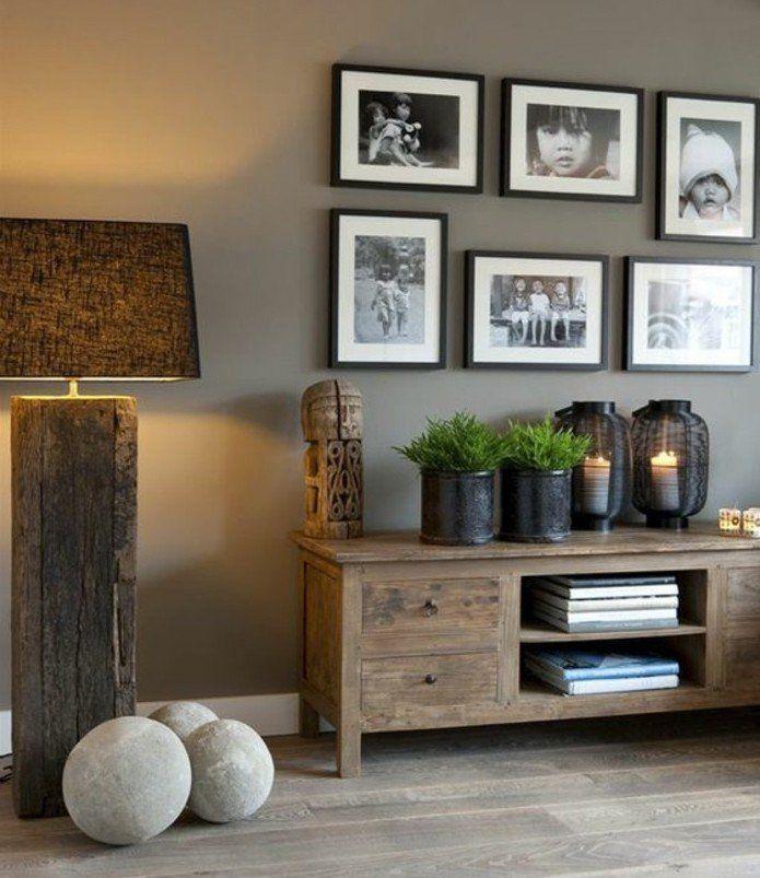 salon taupe deco salon gris trs lgante parquet meubles en bois brut