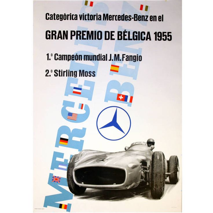 Original Poster for Mercedes Benz Victories at the Belgium Grand Prix 1955 | From a unique collection of antique and modern posters at https://www.1stdibs.com/furniture/wall-decorations/posters/