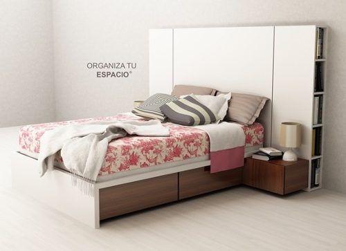 cama 2 plazas respaldo biblioteca mesa de luz ote muebles