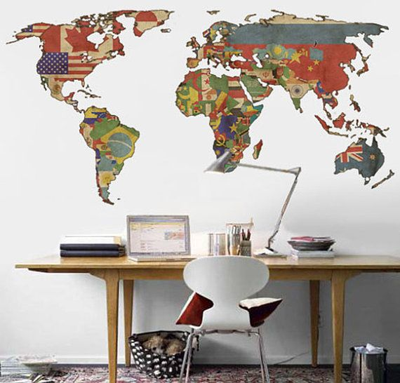 World map decal. Vintage flags world map Wall by decoryourwall