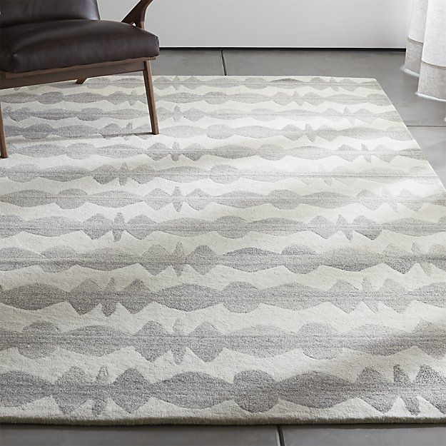 Rugs Like Crate And Barrel: Graphite Neutral Striped Wool 6'x9' Rug