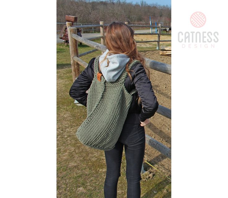 Large knitted bag B141 beige | CatnessDesign