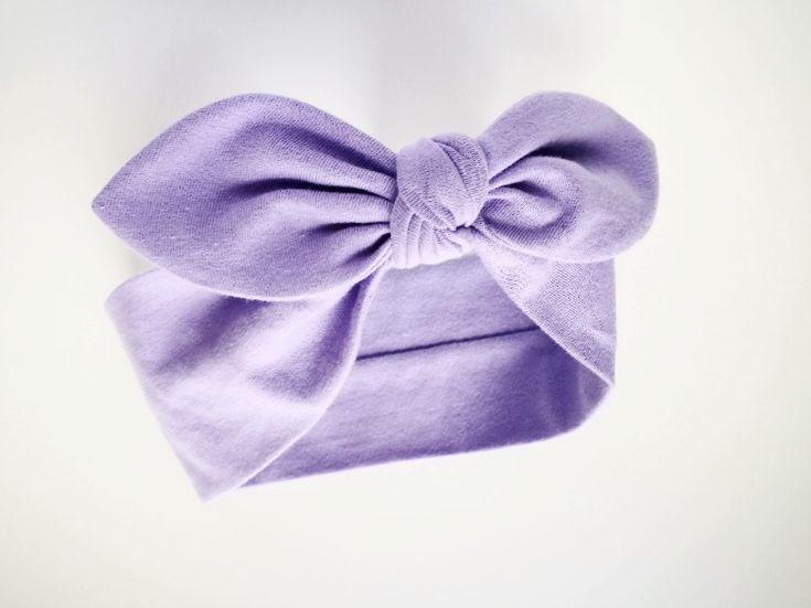 Bawełniana opaska pin-up fioletowa - MadebyKaza - Opaski dla niemowląt