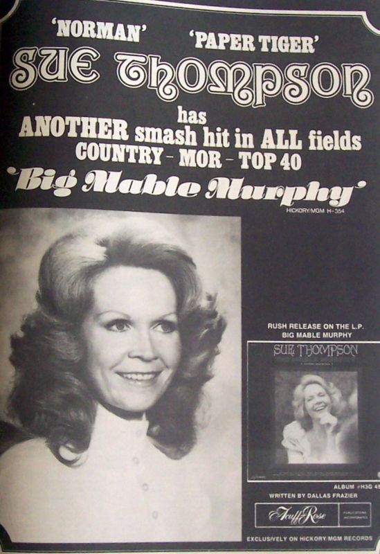 Sue Thompson Music Ad Big Mable Murphy All Fields Country Advert