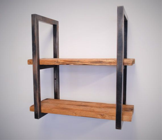 Reclaimed Wood and Steel Shelves by FineDesignCustoms on Etsy