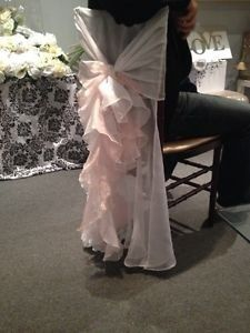 Romantic blush pink and white chiavari chair covers for sale or rent. Hand sewn with high end fabric. Great for weddings, bridal showers, baby showers, parties etc. Absolutely beautiful! 120 available, please contact to discuss price. Used only once and available any time after June 5th, 2015.