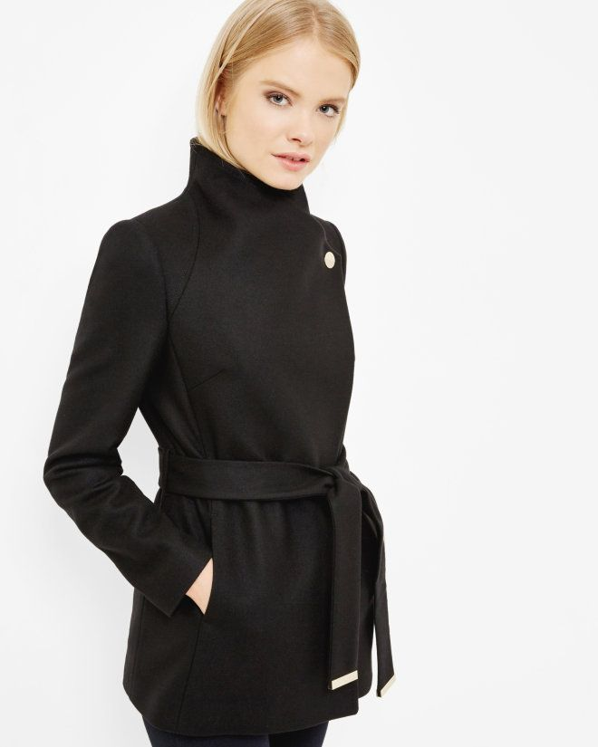 Short wrap coat - Black | Jackets & Coats | Ted Baker