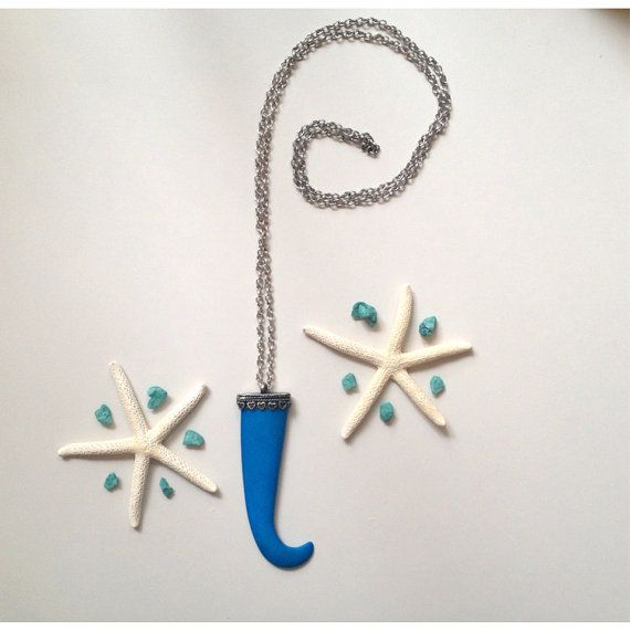 Dyed turquoise bone claw pendant necklace by SuryaSoul on Etsy, €14.00