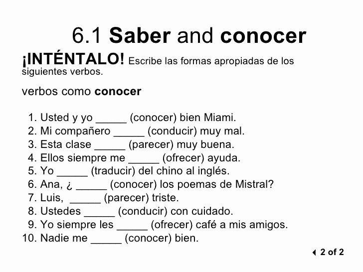50 Saber Vs Conocer Worksheet In 2020 Word Problem Worksheets