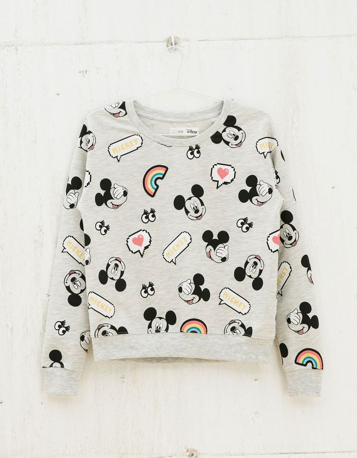 Sudadera BSK bordado Mickey all over - Sudaderas - Bershka Mexico