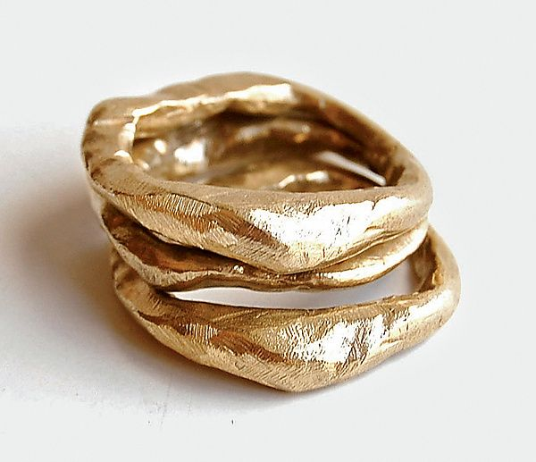 Stone Stacking Rings Silver or Bronze Ring Created by Ann Chikahisa. All 3 in bronze .. $135.00 #stacking #rings