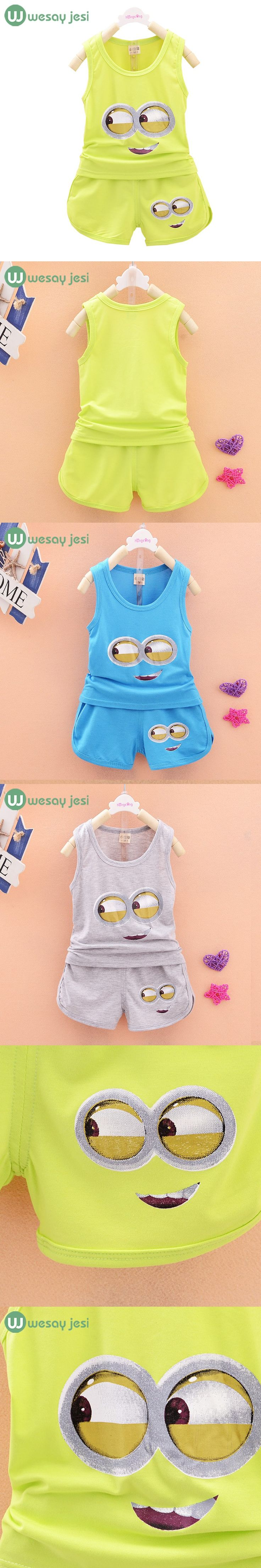 2016 New baby baby clothing cotton 2pcs suit Vest + Pants cartoon casual kids minions suits infant girl children clothes set