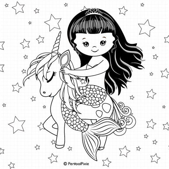 Mermaid And Unicorn Lineart Digtal Stamps Digistamps Mermaid