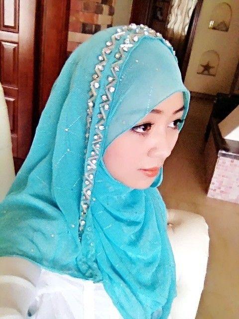 Islamic muslim hijab scarf bandanas quality handmade beaded Noble