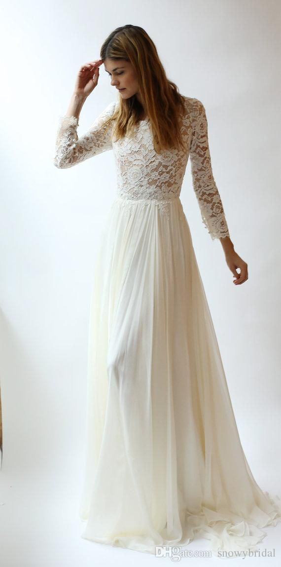 Wholesale wedding dress brand, wedding dresses affordable and wedding dresses vintage lace on DHgate.com are fashion and cheap. The well-made long sleeves lace modest wedding dresses with long lace sleeves bohemian elegant a-line floor length boho bridal dress beach wedding sold by snowybridal is waiting for your attention.
