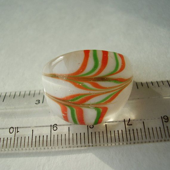 Ring Murano Glass Orange & Green on White Background Abstract