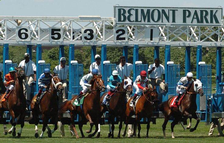 And they're off! Racers pick up speed at the Belmont Stakes. This annual race takes place at Belmont Park in Elmont, New York. Visit the Dark Horse Bet website at www.darkhorsebet.... or call 1-877-478-9952 to find out more about Dark Horse Bet. #horse #betting