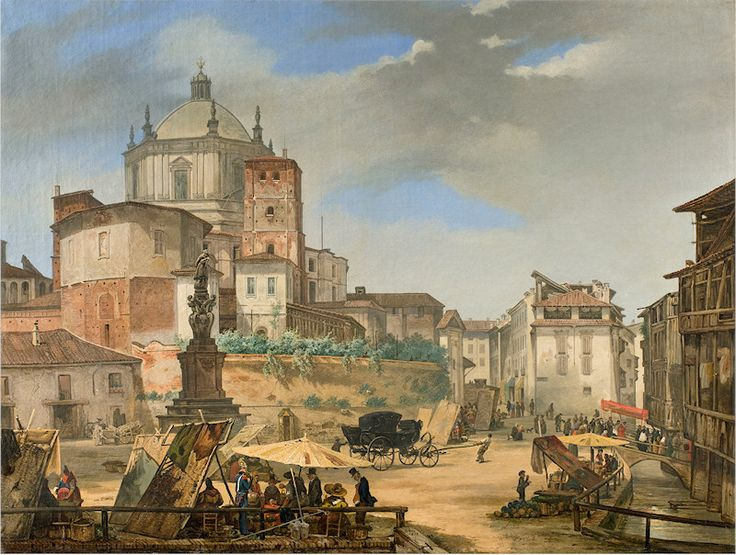 Veduta della piazza della Vetra presso San Lorenzo Maggiore, Giuseppe Elena, 1833. Milano