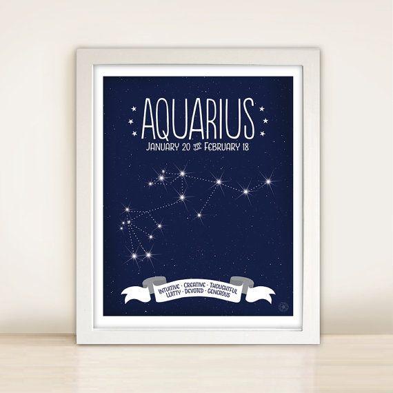 Aquarius Star Map Art Zodiac Constellation by AnneGarrisonStudio, $15.00