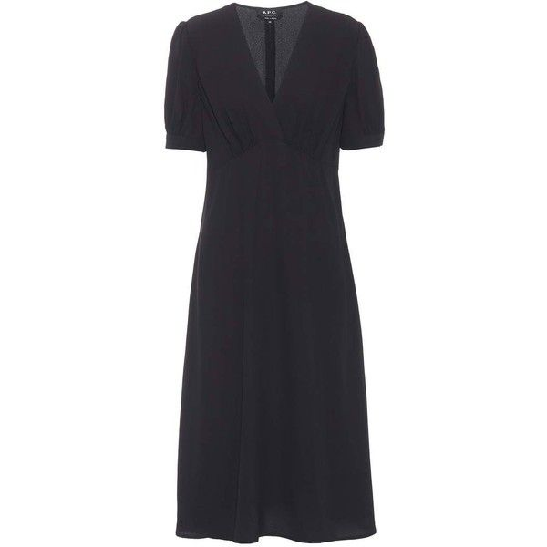 A P C Francis Crepe Dress 5 484 985 Idr Liked On Polyvore Featuring Dresses Black Crepe Dress Crepe Fabric Dress And A P C Dress