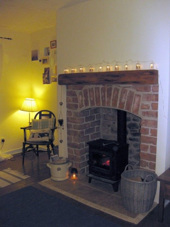 cute brick fireplace