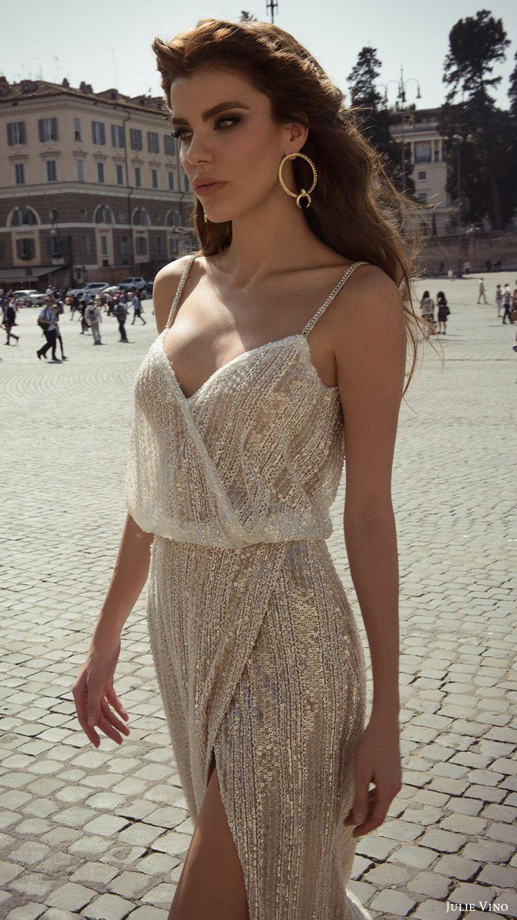 julie vino bridal spring 2017 sleeveless beaded straps vneck blouson wedding dress (junia) fv slit skirt http://ladieshighheelshoes.blogspot.com/