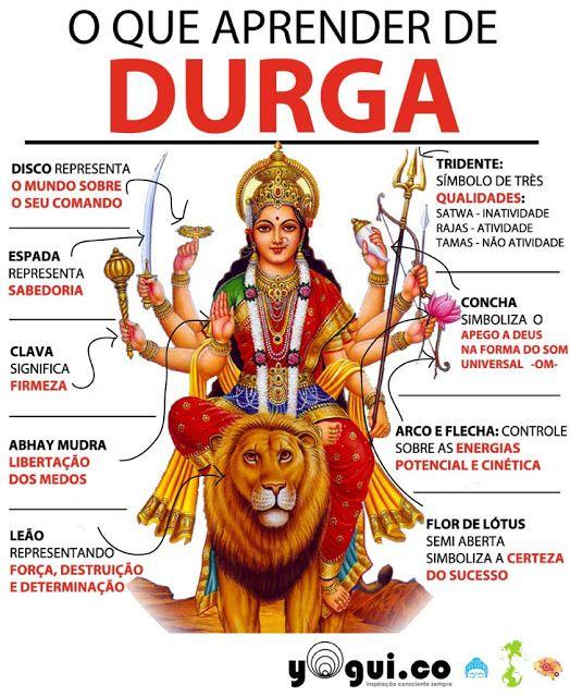Durga é a Deusa invensível representação da força. Seu nome significa barreira que não pode ser derrubada.