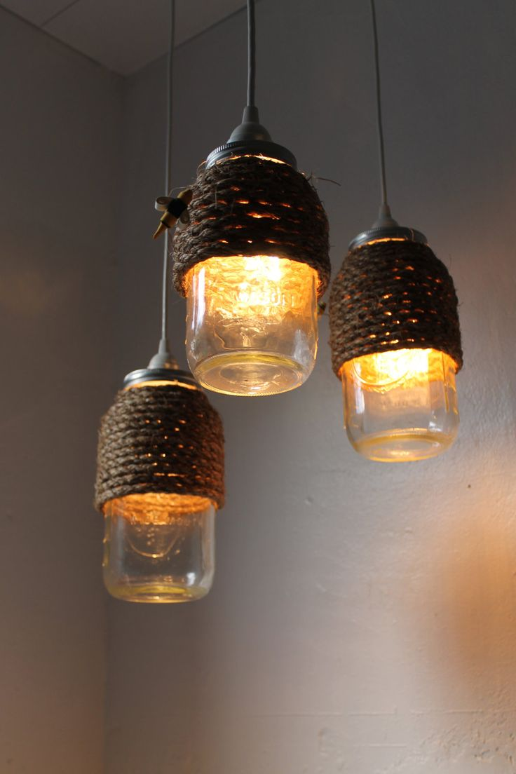 The Hive. Half Gallon Quart Sized Mason Jar Pendant Lights - UpCycled Handcrafted BootsNGus Lighting Fixture Wrapped in Rope