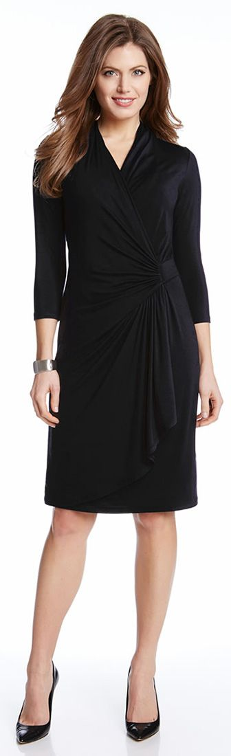 The perfect petite-sized dress. With a sleek, flattering silhouette, the Cascade Wrap Dress is as versatile as it gets. The chic wrap-style front makes it perfect for work, after hours, and weekends. This dress will become a constant classic you will reach for time and again.