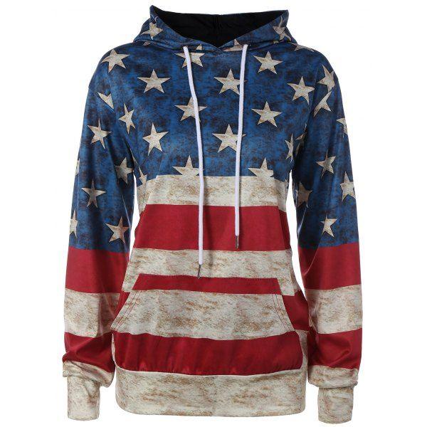 American Flag Printed Loose Hoodie, COLORMIX, XL in Sweatshirts & Hoodies | DressLily.com