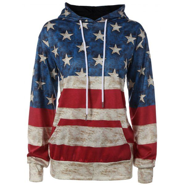 American Flag Printed Loose Hoodie, COLORMIX, XL in Sweatshirts & Hoodies | DressLily.com